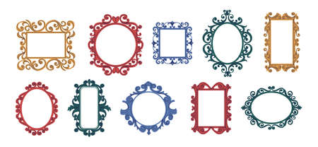 Trendy doodle frames. Contemporary decorative curly framing collection for mirrors and quotes. Hand drawn elegant vintage square or round borders. Vector empty interior frameworks set