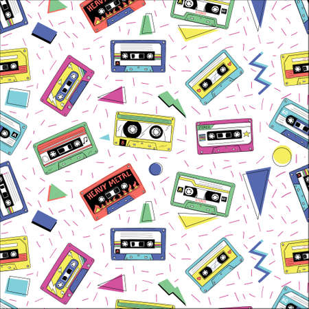Retro cassette pattern. Vintage funky seamless texture with audio tape. Compact stereo player mixtapes and geometric shapes. Old-fashioned musical recorders. Vector disco style print