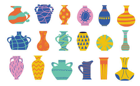 Doodle ceramic vase. Cartoon ancient pottery. Antique wine jar and abstract contemporary bright jug. Isolated amphora collection. Earthenware with geometric print. Vector crockery set Illustration