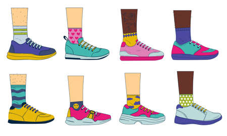 Doodle legs with shoes. Sport fashion footwear on womans and mans feet with colored socks. Vintage casual sneakers set. Side view of boots with shoelaces. Vector people wear footgear Illustration