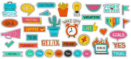 Journal sticker. School planner or scrapbook labels. Agenda or weekly calendar cute tags with flat doodle sketches and typography. Isolated motivational notes for to do list. Vector diary elements set