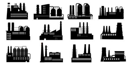 Black factories. Buildings silhouettes with pipes. Heavy industry production and power plants. Chemical equipment and manufacturing construction. Vector isolated industrial architecture signs set