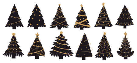 Luxury Christmas tree. Doodle New Year black spruces. Xmas decoration sketch for greeting postcards and festive party invitation. Vector isolated winter holiday firs set with golden garlands and balls
