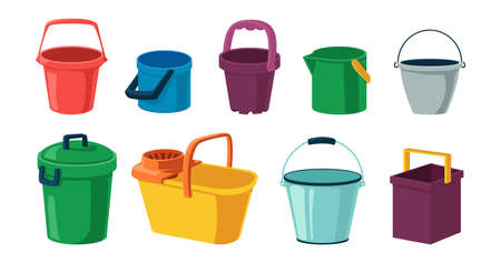 Cartoon bucket. Plastic and metal container with lid and handle for water. Open or closed tanks collection. Garbage cans. Household cleaning or garden tools. Vector bright pails set Illustration