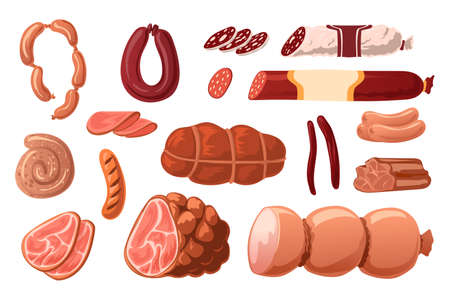 Cartoon sausages. Meat grocery assortment. Pork, chicken and beef smoked products. Butchery collection. Salami slices and ham rings. Delicious frankfurters. Vector gourmet food set