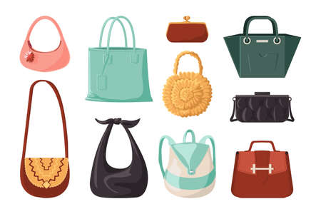 Trendy bags. Fashion woman purse and elegant everyday handbag. Modern female accessories collection. Cartoon leather clutch and casual hobo packet. Vector fashionable clothes set