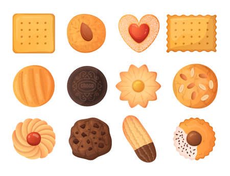 Cartoon cookies. Tasty food. Delicious biscuit and cracker. Baked dough products. Gingerbread and chocolate cake. Isolated pastries collection. Sweet snacks. Vector yummy desserts set Illustration
