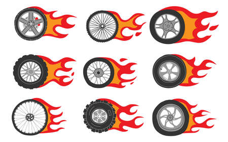 Flame wheels. Doodle car motorcycle and bicycle tires with dynamic fire.