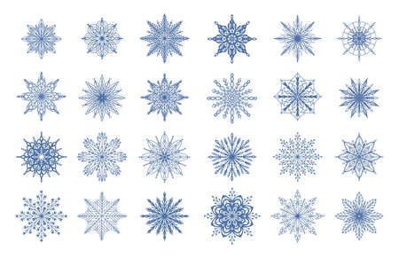 Cartoon snowflakes. Winter geometrical ornamental frozen water symbols. Christmas snow decorations mockup. Blue flakes isolated collection. Snowfall pictograms. Vector ice crystals set