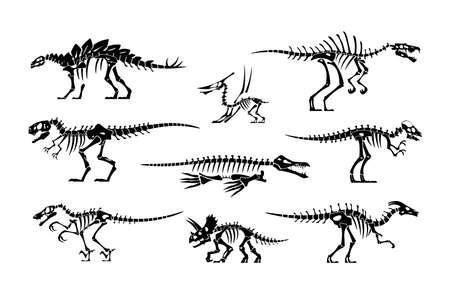 Black dinosaur bones. Dino skeleton and skull silhouettes. Prehistoric animal fossil. Jurassic tyrannosaurus and stegosaurus. Paleontology lizard mockup. Vector extinct reptiles set