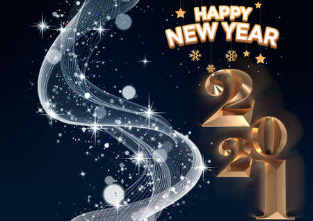 Happy new year 2021 concept, with floral designs, with a shining, freezing golden background. Standard-Bild
