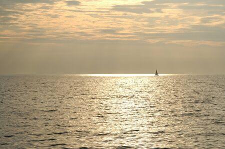 Sailing Bronze Sea Stock Photo