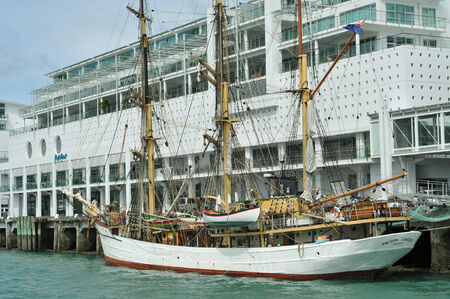 Three masted barque Picton Castle in Auckland Editorial