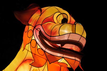 Chinese lantern festival dog head close-up