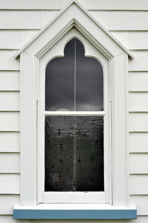 church window: Old wooden church window painted white and blue Stock Photo