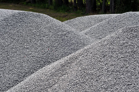 Piles of road gravel ready to be used