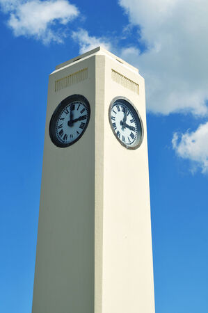 Clock on top of white monument