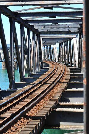 old metal: Rusty old metal railway bridge