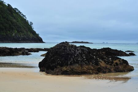 Coast of various shapes with beaches cliffs and rocky areas around Matapouri in New Zealand.