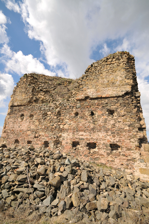 Remains of ain rectangular tower of the keep of Saris castle.