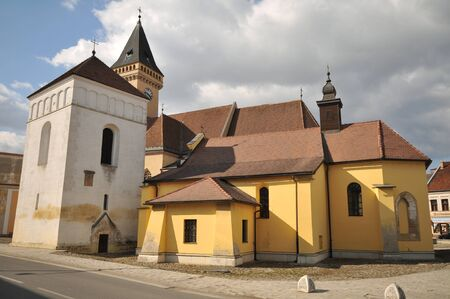 Sabinov church and tower on Square of Liberty.