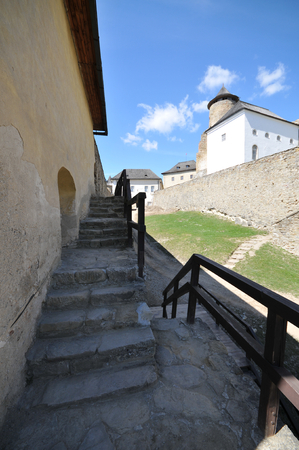Wall path and stairs inside Stara Lubovna castle. Editorial