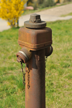 source of iron: Rusty hydrant on blurred grass background.