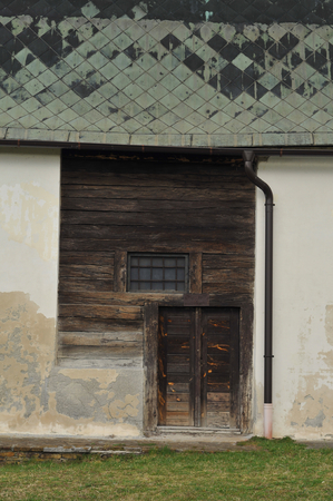salt water: Solivar historical stone wooden salt water warehouse. Stock Photo