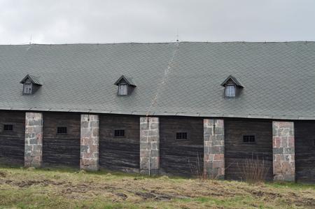 Solivar historical stone wooden salt water warehouse. Stock Photo