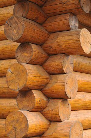 Corner of cabin made of big bode logs.