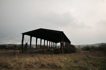 Abandoned barn in fields between Sabinov town and Orkucany.