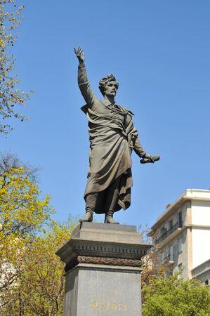 Budapest Sandor Petofi statue near Erszebet bridge. Stock Photo