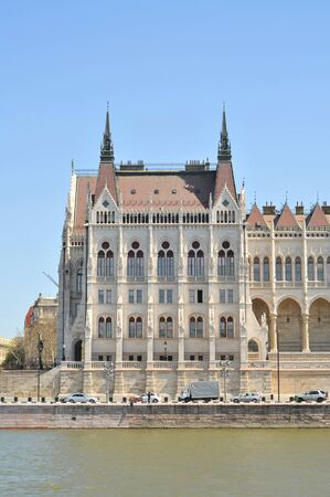 Budapest glorious buildings of Hungarian parliament on bank of Danube river.