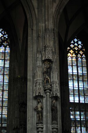 saint stephen cathedral: Interior details of gothic cathedral church of St Stephen in centre of Vienna (Wien) Austria.
