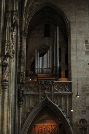 wien: Interior details of gothic cathedral church of St Stephen in centre of Vienna (Wien) Austria.