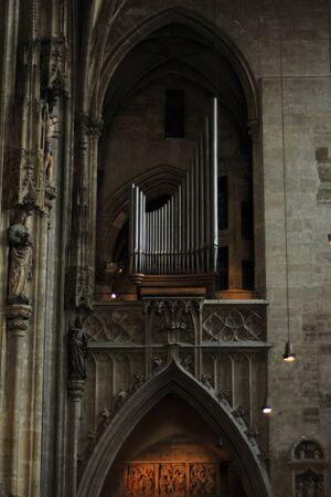 Interior details of gothic cathedral church of St Stephen in centre of Vienna (Wien) Austria.