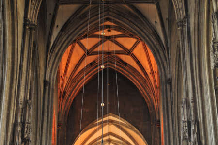christian community: Interior details of gothic cathedral church of St Stephen in centre of Vienna (Wien) Austria.