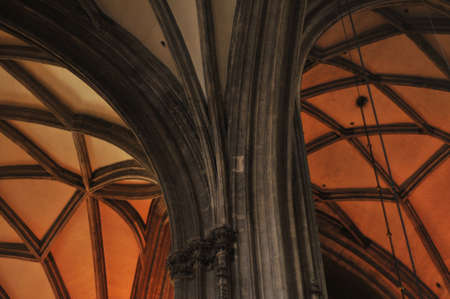 stephen: Interior details of gothic cathedral church of St Stephen in centre of Vienna (Wien) Austria.