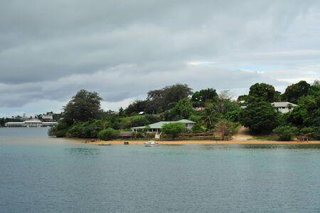 Coastal village of Utulei close to Neiafu in Vavau archipelago of Kingdom of Tonga.