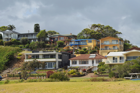 kiama: Houses of mixed architectural styles in a holiday town.