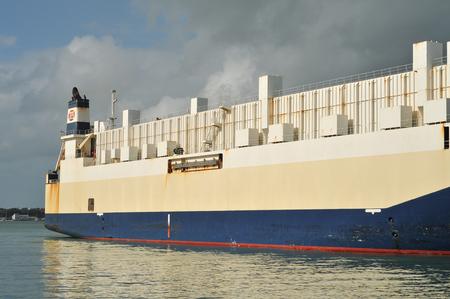 hull: Cargo Ship With Rusty Hull Editorial