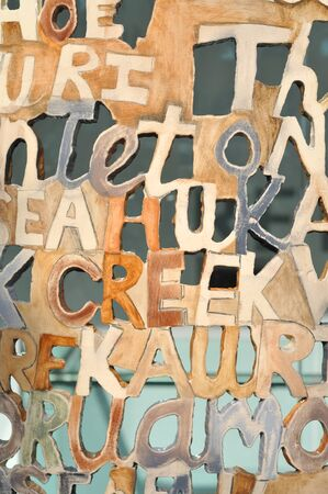Ceramic wall with letters