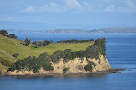 te: View of part of Te haruhi Bay on Whangaparaoa Peninsula. Stock Photo
