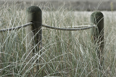 Sun dried poles with thick rope through holes creating fence in high grass. Stock Photo