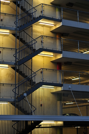 Outside stairs of multi-story car park building on Victoria Street in Auckland. Stock Photo