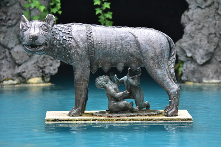 Copy of famous bronze statue of mother wolf of Romulus and Remus.