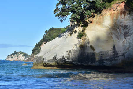 Coastline surrounding Cathedral Cove in sunlight