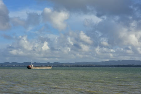 Barge with black hull on murky water of harbor with coastline in background. Stock Photo