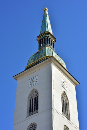 Gothic spire of Roman Catholic cathedral of St Martin in Bratislava dominates skyline of Old Town.