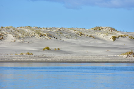 Layer of sand dune with patches of recovering native vegetation in between blue sky and calm water surface reflecting skies.